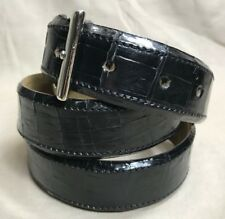 "Genuine Black Alligator-Crocodile skin Waist 33-34 Belt Size 35-36 x 1.25"" wide"