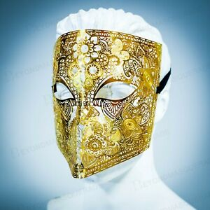 Gold Metal Laser Cut Venetian Buata Style Halloween Men Masquerade Mask