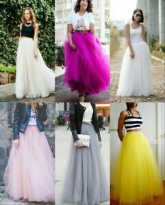 5 Layer Tulle Long Skirt Tutu Women Maxi Wedding Skirts Party Prom Underskirt J1
