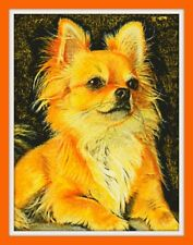 Chihuahua cross Cross Stitch Chart 12.0 x 9.1 inches.