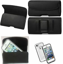 For Samsung Galaxy J7 V  XL BELT CLIP LEATHER HOLSTER  FIT AN LIFEPROOF CASE ON