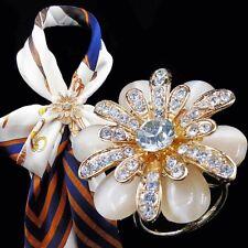 Tricyclic Scarf Buckle Brooch A Wedding Accessories Camellia Flower Crystal Opal