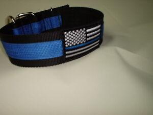 THIN BLUE LINE DOG COLLAR POLICE K9 SCHUTZHUND