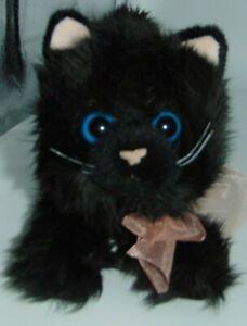 "Russ Berrie Fritzie Black Cat Kitten Plush Stuffed Animal Blue Eyes Pink Bow 13"""