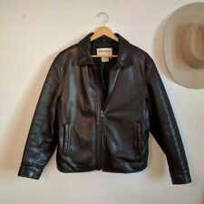VTG Eddie Bauer Black Genuine Leather Jacket Women's Sz Medium