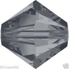 SWAROVSKI 5328 Xilion Bicono Perle 6mm: cristallo argento perline di notte (20)