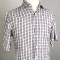 PETER MILLAR SHORT SLEEVE PLAID BUTTON DOWN LINEN SHIRT MENS SIZE M