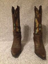 Nine West brown leather butterfly design cowboy boots . size 6.5