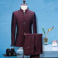 Burgundy 3 Pieces Paisley Groom Tuxedo Suit Men Prom Party Wedding Suit Custom