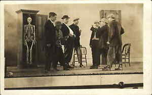 East Freetown NY School Play Skeleton in Closet NICE DETAIL RPPC 1911 Postcard