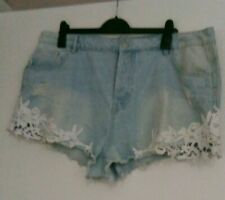 Size 20 light blue denim shorts with detail in good condition from Denim & Co