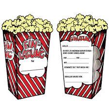 6 Einladungskarten POPCORN & KINO für Kindergeburtstag Kinogeburtstag Geburtstag
