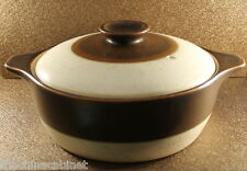 DENBY AUTHENTIC ENGLISH STONEWARE BROWN BAND -- COVERED CASSEROLE DISH