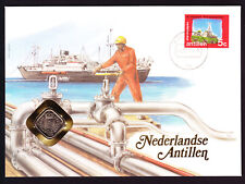 1985 Netherlands Antilles stamp & coin cover Ship Sea Dutch Colony Numisbrief