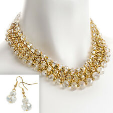 Gold colour woven wire crystal glass layered earrings and necklace jewellery set