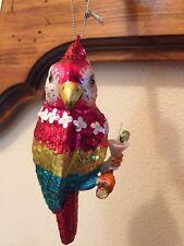 Margaritaville Parrot Having a Drink Glass Christmas Ornament new