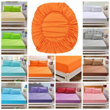 Flat Fitted Sheet Bed Cover Coverlet Set Comfort Cotton Solid Color Bedroom