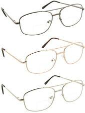 Reading Glasses Bifocal Aviator Metal Frame Clear Lens Readers for Men and Women