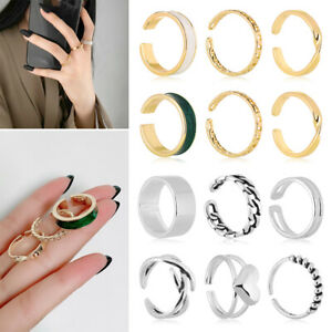 Joint Opening Tail Ring Resizable Geometry Circular Hollow Out Metal Rings Set