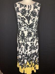 Roman Ladies Black & White Floral Dress Size 14 (A2)