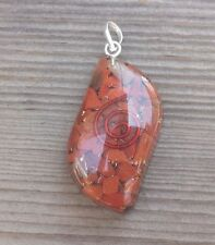 ORGONE RED JASPER GEMSTONE EYE SHAPED PENDANT ORGONITE (ONE)