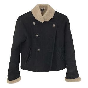 Womens Medium Saks Fifth Avenue Black Suede Leather Shearling Sheepskin Coat