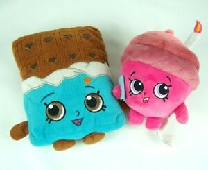 Shopkins Lot of 2 Plush Toys: Mary Wishes and Cheeky Chocolate.