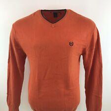 Ralph Lauren Chaps Jumper Orange V Neck Cotton Sz Small / S Mens Loose Fit