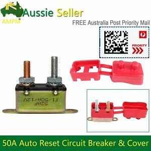 50AMP 12V Circuit Breaker Auto Reset Fuse Dual Metal Stud & Red Protective Cover