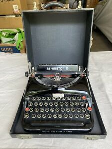 Vintage Remington Rand Streamline Model 5 Portable Typewriter w/ Case - Works