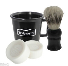 Scalpmaster professional Barber's 4-piece Shaving set Mug-Brush-2 cake soaps