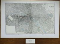 "Vintage 1900 PARIS FRANCE Map 22""x14"" ~ Old Antique Original LOUVRE NOTRE DAME"