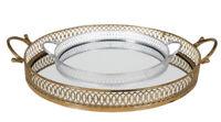 Tablett Metalltablett mit Spiegel Silber Gold Spiegeltablett Landhaus Shabby Ch