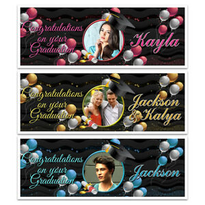 PERSONALISED PHOTO HAPPY GRADUATION DAY CELEBRATION NAME BANNERS PARTY