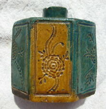 Antique Chinese hexigonal tea caddy glazed biscuit green gold porcelain Ching