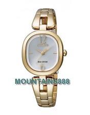 CITIZEN EcoDrive Watch,SapphireGlass,LowChargeIndicator,GoldTone,Lady,EM0185-52A