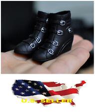 1/6 kumik shoes Black Widow Catwoman women black Wedge Booties ❶❶US seller❶❶