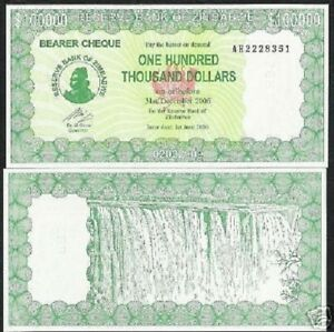 ZIMBABWE 100000 100,000 DOLLARS P32 2006 VICTORIA FALL UNC MONEY BILL BANK NOTE
