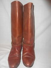 Woman Brown Leather Allegre Riding Boots 8B w/Buckle Ankle Belt
