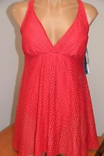 New Swim Solutions Swimsuit 1 one piece Size 10 Crochet Flyaway Swimdress coral