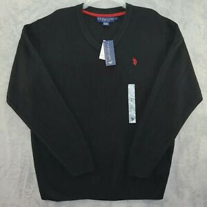 US Polo Association Sweater Mens Large Black Long Sleeve V Neck Pullover NWT