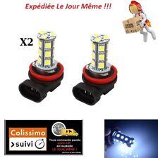 2 AMPOULES H11 LED ANTI BROUILLARD 18 LED SMD FEUX TUNING XENON 6000K