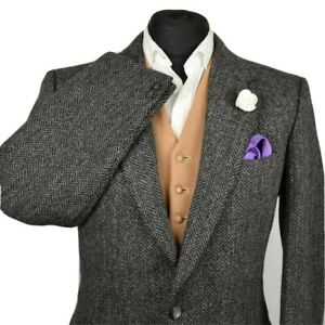 Vtg Tweed Tailored Navy Herringbone Country Blazer Jacket 40R #987 PRISTINE