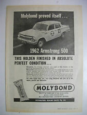 1962 ARMSTRONG 500 HOLDEN EJ USING MOLYBOND FULLPAGE MAGAZINE ADVERTISEMENT
