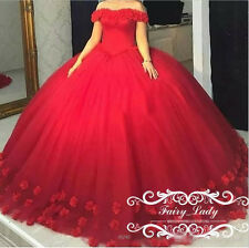8abab6588d0 Off Shoulder Red Puffy 3D Flowers Quinceanera Dress Sweet 16 Pageant Party  Gown