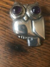 Vintage Old Sterling & Amethyst Eyes Owl  Pin Brooch Mexico