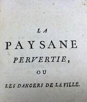Curiosa Rétif de la Bretonne La Paysanne Pervertie Rare Ouvrage du 18ème Siècle