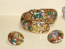 VTG Lucite Sea Shell Confetti GOLD  Clamper Hinged Cuff Bangle Bracelet EARRINGS