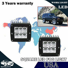 For Jeep Wrangler Cherokee XJ Clear LED Fog Lights Offroad Pods Cube Lamps 3""