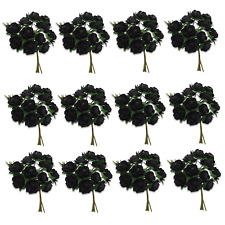 Craft Flowers Qty 144 Mini Open Paper (Mulberry) Rose Black 12mm